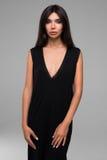 Beatiful Woman In Black Dress Portrait Royalty Free Stock Photo