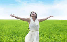 Beatiful woman enjoying spring Royalty Free Stock Photography