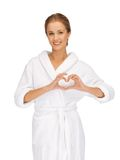 Beatiful woman with heart shaped hands Royalty Free Stock Image
