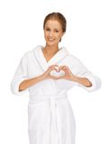Beatiful woman with heart shaped hands Royalty Free Stock Photo