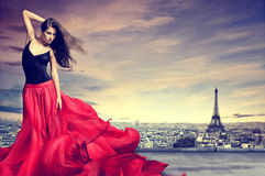 Beatiful woman in Paris. Dancing, beautiful woman in Paris Royalty Free Stock Photography