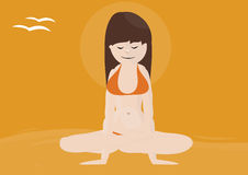 Beatiful woman practicing yoga on a beach Royalty Free Stock Photography