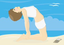Beatiful woman practicing yoga on a beach Royalty Free Stock Image