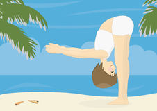 Beatiful woman practicing yoga on a beach Stock Images