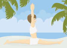 Beatiful woman practicing yoga on a beach Royalty Free Stock Photo