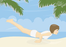 Beatiful woman practicing yoga on a beach Royalty Free Stock Images