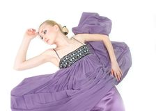 Beatiful woman in purple dress Royalty Free Stock Image
