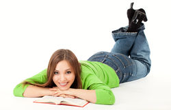 Beatiful woman is reading book Stock Image