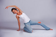 Beatiful woman stretches out Royalty Free Stock Photo