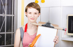 Woman pointing to healthy eating shopping list Royalty Free Stock Photography