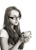 Beatiful young woman with cup of tea Stock Photography