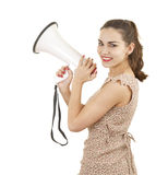 Beatiful young woman with megaphone Stock Photos