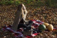 Beatifull dziewczyna w jesień lesie Fotografia Stock