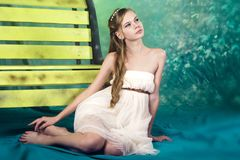 Beatifull teenage girl in vintage dress in studio Royalty Free Stock Images