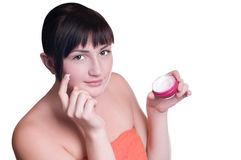 Beatifull Woman With Cream On Face Stock Photo