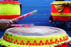 Beating chinese drum Royalty Free Stock Images