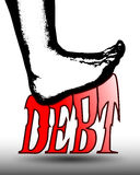 Beating Debt. The black outline of a human foot stamps down and squashes the word DEBT in red gradient letters. Illustration on a partial white background with Stock Photos