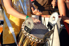 Beating drums. People gathering beating colorfull drums royalty free stock image
