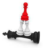 Beating the king. 3d generated picture of a success concept vector illustration
