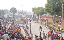 Beating Retreat Ceremony at Wagah Border. The Wagah border closing lowering of the flags ceremony or The Beating Retreat ceremony being held at Wagah Border on Stock Photos