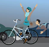 Beating the traffic on a bike. Young hipster girl riding a bicycle and flashing peace signs, passing cars, stuck in a traffic jam, vector illustration Stock Photos