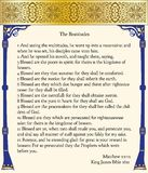 The Beatitudes: Matthew 5:1-12. The Beatitudes from the King James Bible, 1611, the original Bible, in old English Stock Photo