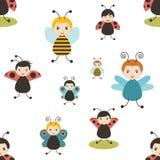 Beatles动画片无缝的样式 蜂,蝴蝶,瓢虫 婴孩,孩子,儿童设计 图库摄影