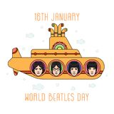 The Beatles band topics. November 19.2017 . Editorial illustration of the Beatles band members faces on the submarine background . World Beatles Day topic Royalty Free Stock Image