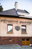The Beatles house in Bardejov, SLovakia. Bardejov, Slovakia - AUGUST 09, 2015: Private house of The Beatles lover. On building are notes of one of The Beatless Stock Photo