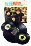Beatles LP och singlar Royaltyfria Bilder