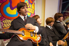 The Beatles at Madame Tussauds London UK. The Beatles band wax statues at the famous Madame Tussaud's museum in London, to celebrate the greates british band. In Stock Photos