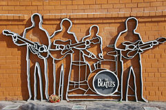 The Beatles monument in Ekaterinburg. Opening of a monument of Beatles has taken place on May, 23rd 2009. On quay of the river an Iset, Ekaterinburg, Russia Stock Images