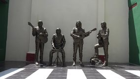 The Beatles monument at the House of Music in Trinidad, Cuba stock video footage