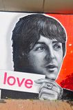 Beatles painting on a wall royalty free stock photos