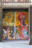 The Beatles pop art portraits. SALAMANCA, SPAIN - CIRCA JUNE 2015: The Beatles pop art portraits by Richard Avedon 1967, reproduced on a night club door, with Stock Photography