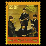The Beatles Postage Stamp from Congo. REPUBLIQUE DU CONGO - CIRCA 2007: A postage stamp portraying an image of The Beatles, circa 2007 Royalty Free Stock Image