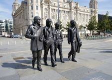 Beatles statue at the Liverpool waterfront. The fab four were legendary pop music icons in the 60`s, and synonymous with their home city of Liverpool royalty free stock photos
