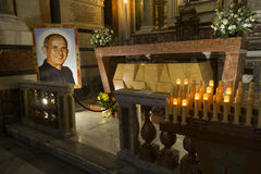 Beato Don Pino Puglisi. The tomb of Father Pino Puglisi, parish priest killed by the Mafia, Blessed, located within the Palermo cathedral Stock Photos
