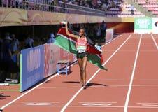 Beatrice Chebet van de winst eerste goud van Kenia in 5000m bij de IAAF-Wereldu20 Kampioenschappen in Tampere, Finland op 10 Juli Stock Afbeeldingen
