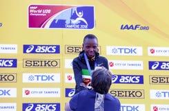 Beatrice Chebet van de winst eerste goud van Kenia in 5000m bij de IAAF-Wereldu20 Kampioenschappen in Tampere, Finland op 10 Juli Stock Foto