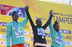 Beatrice Chebet van de winst eerste goud van Kenia in 5000m bij de IAAF-Wereldu20 Kampioenschappen in Tampere, Finland op 10 Juli Royalty-vrije Stock Afbeeldingen