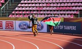 Beatrice Chebet van de winst eerste goud van Kenia in 5000m bij de IAAF-Wereldu20 Kampioenschappen in Tampere, Finland op 10 Juli Royalty-vrije Stock Foto