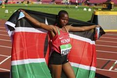 Beatrice Chebet van de winst eerste goud van Kenia in 5000m bij de IAAF-Wereldu20 Kampioenschappen in Tampere, Finland op 10 Juli Stock Afbeelding