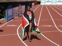 Beatrice Chebet van de winst eerste goud van Kenia in 5000m bij de IAAF-Wereldu20 Kampioenschappen in Tampere, Finland op 10 Juli Stock Fotografie