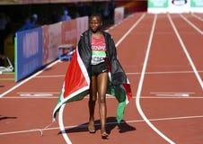 Beatrice Chebet van de winst eerste goud van Kenia in 5000m bij de IAAF-Wereldu20 Kampioenschappen in Tampere, Finland op 10 Juli Stock Foto's