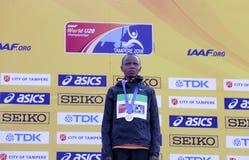 Beatrice Chebet van de winst eerste goud van Kenia in 5000m bij de IAAF-Wereldu20 Kampioenschappen in Tampere, Finland op 10 Juli Royalty-vrije Stock Afbeelding