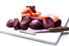 Beats. Cut beetroot and carrots for fresh vegetable juice stock photo