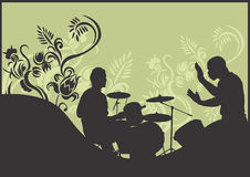 Beats. Illustration of a drummer and a percussion player Royalty Free Stock Photo