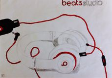 Beats by Dr. Dre studio drawing royalty free stock image