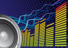 Beats of music. Speaker and equalizer on abstract background Stock Photos
